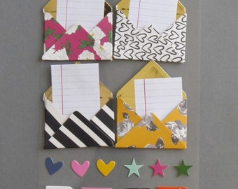 4 mini envelopes 3D stickers - for scrapbooking