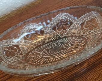 Vintage Sandwich Glass Oval Serving bowl