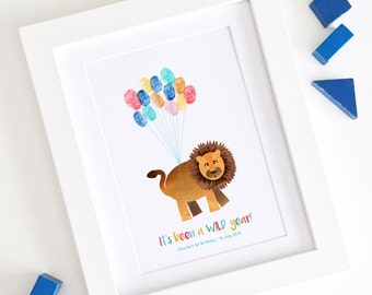 Personalised / Customised First Birthday Party Print - Jungle Safari Lion Thumbprint Guest Book