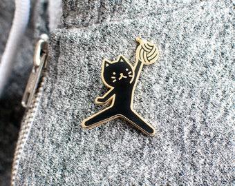 Jumpcat Enamel Lapel Pin // black / gold / basketball / jumpman / sports / yarn ball / cloisonne pin / silly gift / black cat pin