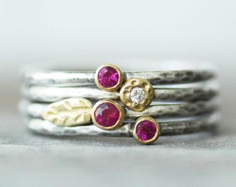 Rubin und Diamant Blatt Stapeln Ringe-Set - Set von 4-18 k Gold und Silber Stapeln Ringe