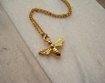 Small gold bee necklace, bumble bee pendant necklace, dainty gold necklace, gold vermeil necklace, gold fill necklace, christmas gift