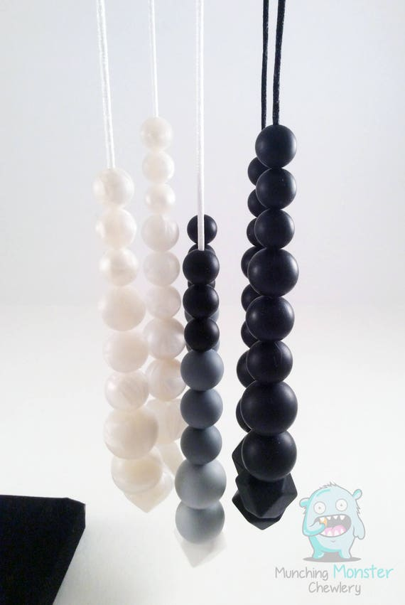Silicone Teething Necklace, Nursing Necklace, Hexagon and round beads, Teething chew beads, teething toy