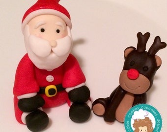 Santa and Rudolph  fondant cake topper