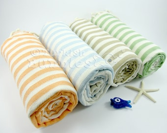 S A L E, Towel Set of 4, Turkish Beach Towel, Peshtemal, Turkish Towel, Bridesmaid Gift, Turkish Bath, Fouta, Wedding Favor, Wedding Gift