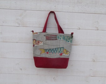 Woman handbag, two handles, red Suede, linen print, fish Japanese kites, Pocket, closed with lobster clasp, lightweight, washable, ball