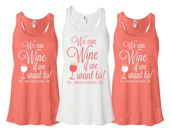 Bridesmaid Tank Tops Bridal Party We Can Wine Bachelorette Flowy Racerback Monogram Bachelorette Party Tank Top Shirts