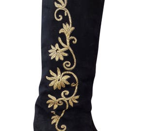 ROGER VIVIER Black and Gold Suede Knee High Boots (39)