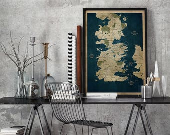 Game of Thrones Map, Westeros map, Game of Thrones, Westeros Map fine art, map of westeros,Movie ,Maps,Fantasy prints,GOT