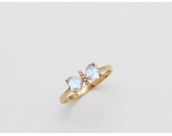 Heart Moonstone Ring, Ribbon Moonstone Ring, White Gold Moonstone Ring, Heart Engagement Ring, 18K Moonstone Ring, Gold Heart Ring, Proposal