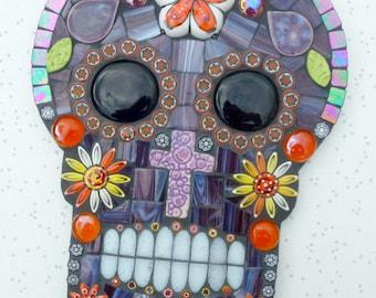 Skull mosaic art, sugar skull mosaic, day of the dead art, Mexican wall art, Mexican skull art, skull tattoo style, skull art, sugar skull