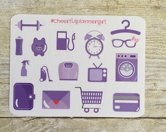 This week in Purple Icon Small Sampler Planner Stickers Set s13