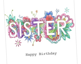 Sister Birthday Embellished Card taken from an Original Watercolour