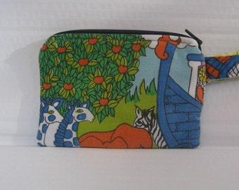 Vintage Noah's Ark Fabric Wristlet