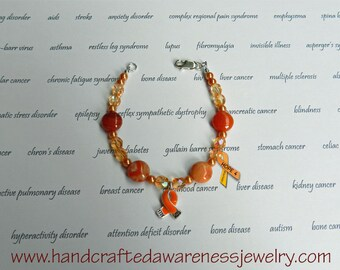 Orange Ribbon Awareness Bracelet, Orange Ribbon Bracelet, MS, CRPS, RSD, Leukemia, Chronic Obstructive Pulmonary Disease, Botswana Agate
