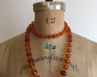 Vintage Genuine Faceted Amber Hand Knotted Necklace 79 Grams Gr Huge Graduated Amber Beads