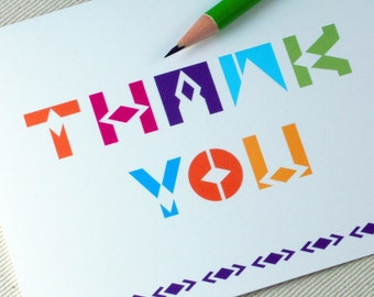 Thank You Card - Neon Thank You Note Card  Oh Geez Design