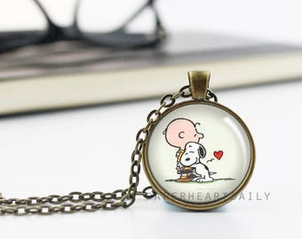 Charlie Brown Pendant - Snoopy Necklace - Snoopy Jewelry - Peanuts Gang Jewelry - Dog Lover Necklace - Bronze Snoopy Pendant -  (B9092)