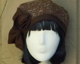 Beret Hat- Bow -Vintage Brown Herringbone Wool