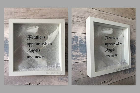Feathers appear when Angels are near Box Frame Shadow Box