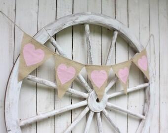 Pink Heart garland ,burlap