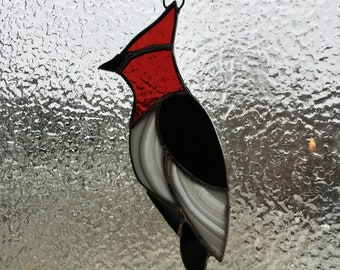 stained glass woodpecker suncatcher