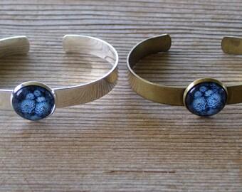 Succulents Bracelet, Blue Botanical Cuff Bracelet, Antiqued Brass Bracelet, Botanical Bracelet, Brass Cuff Bracelet,  Succulent Jewelry