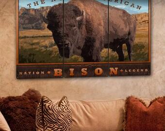 "The North American Bison, Buffalo, Tatanka, Western, Americana, Native American, Indian, Triptych, Metal Sign, Wall Decor, Wall Art, 54""x36"""