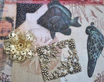Sale Bag #2 of mixed Brass Stampings for Jewelry Making and Crafting, Made in the USA