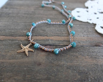 Bronze starfish necklace, knotted blue beaded starfish necklace, beach boho starfish necklace, bronze necklace, crochet bronze seed necklace