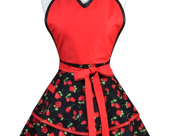 Flirty Pinup Apron - Womens Glamour Red Roses Kitchen Apron - Sexy Cute Sweetheart Apron with 2 Skirts and Pocket - Monogram Option