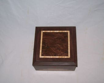 Small wood Box Wood Keepsake Box Art Deco Walnut Box Inlayed with Fancy Walnut top  5''x5''x3''