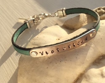graduation bracelet gift, personalized name, word, date, initials hand stamped, custom name bracelet, kheart, kHEART, Father's Day, birthday