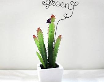 Green wording plant stake / garden marker wired craft