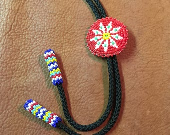 Native Style Seed Bead Bolo Tie