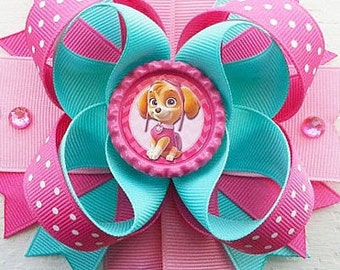"Paw Patrol Skye Handmade Boutique Layered Hair Bow 5"" Girls Hair Bow NEW"