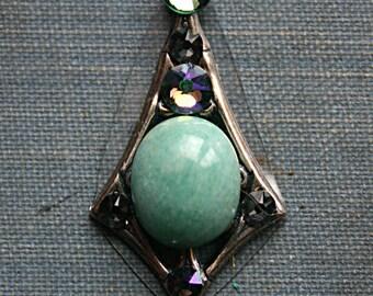 Sea Foam Green Agate Natural Gemstone Bindi - ATS, Tribal Belly Dance, Third Eye, Facial Jewelry, Rhinstone, Crystal, Green