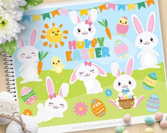 Easter Bunny, Hoppy Easter, Happy Easter Clipart, white bunny rabbit, easter egg hunt, Commercial Use, Vector clip art, SVG Files