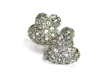 Rhinestone Crystal Heart Earrings Screw Back Vintage