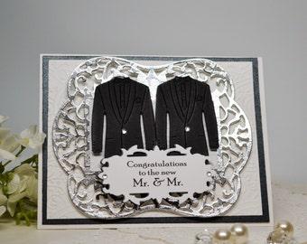 Gay Couple Wedding Card, Elegant Mr & Mr Wedding Card, Mens' Tuxedo Wedding Card, Groom Card