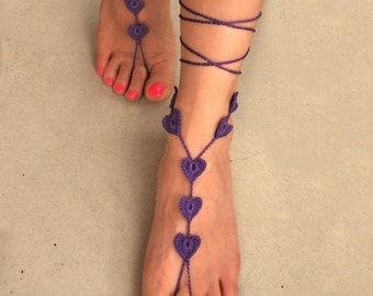 Foot Jewelry- Barefoot Sandals- Beach Wedding Sandals- Barefoot Wedding Sandals- Footless Sandals- Bridesmaids Gift- Purple Barefoot Sandals