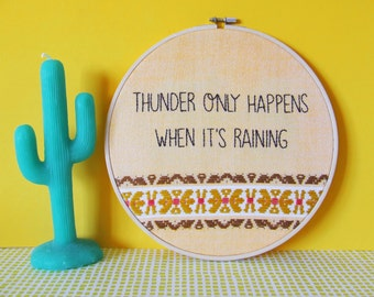 Fleetwood Mac - Dreams 'Thunder Only Happens When It's Raining' Hand Embroidered Hoop Art