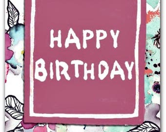 Birthday greeting card with envelope 12.5 cm x 17 cm