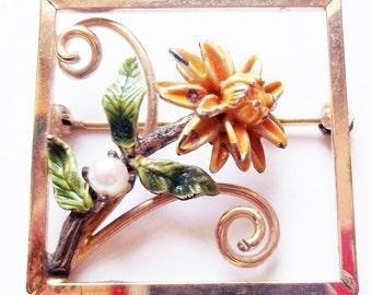 Vintage 12 K Gold-Filled and Sterling Brooch - Dixelle Openwork w/ Enameled Flower - Square Goldtone Brooch - Flower Brooch - Floral Brooch