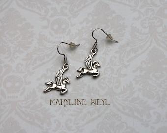Pegasus winged horse Silver earrings