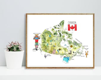 Canada Map | Watercolour | Guide | Poster | Art | Print | Decor | Canadian | Painting | Vancouver | Nursery | Picture | Maple Leaf