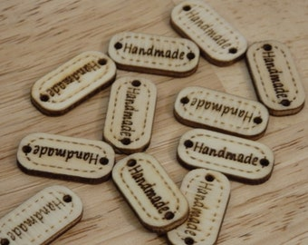"""Wood """"Handmade"""" Tags / Labels, unfinished small. (wooden hand made DIY made with love sewing knitting sew on crochet purse bag sweater hat"""