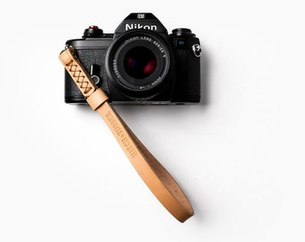 Leather Camera Wrist Strap  ~ Natural
