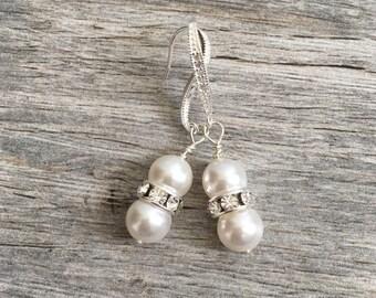 Bridal Earrings, Drop Pearl Earrings, Ivory Pearl Earrings, Wedding Earrings, Bridal Jewelry, pearl crystal earrings, sterling silver, pave
