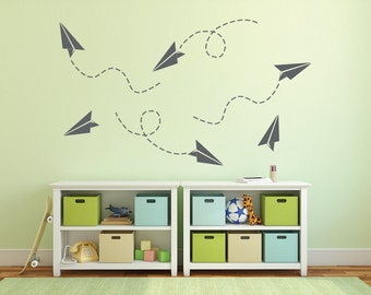 Paper airplane wall decal, Airplane decor, Kids wall stickers, Airplane nursery wall decal, Airplane wall art, Boys wall decals DB238